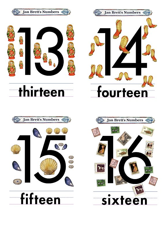 Numbers Flash Cards 13 to 16