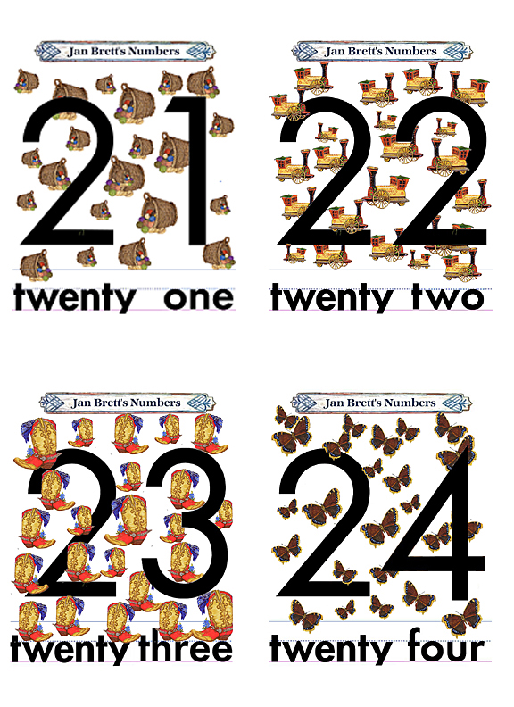 Numbers Flash Cards 21 to 24