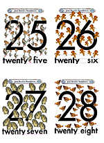 Numbers Flash Cards 25 to 28