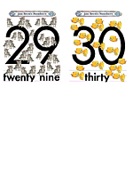 Numbers Flash Cards 29 to 30