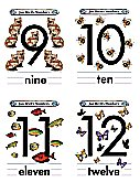 Flash Card Numbers 9 to 12