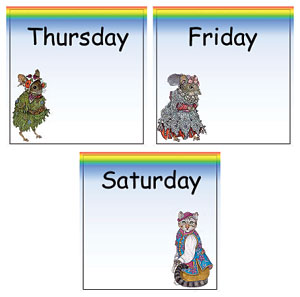 Pocket Calendar Days Thursday - Saturday