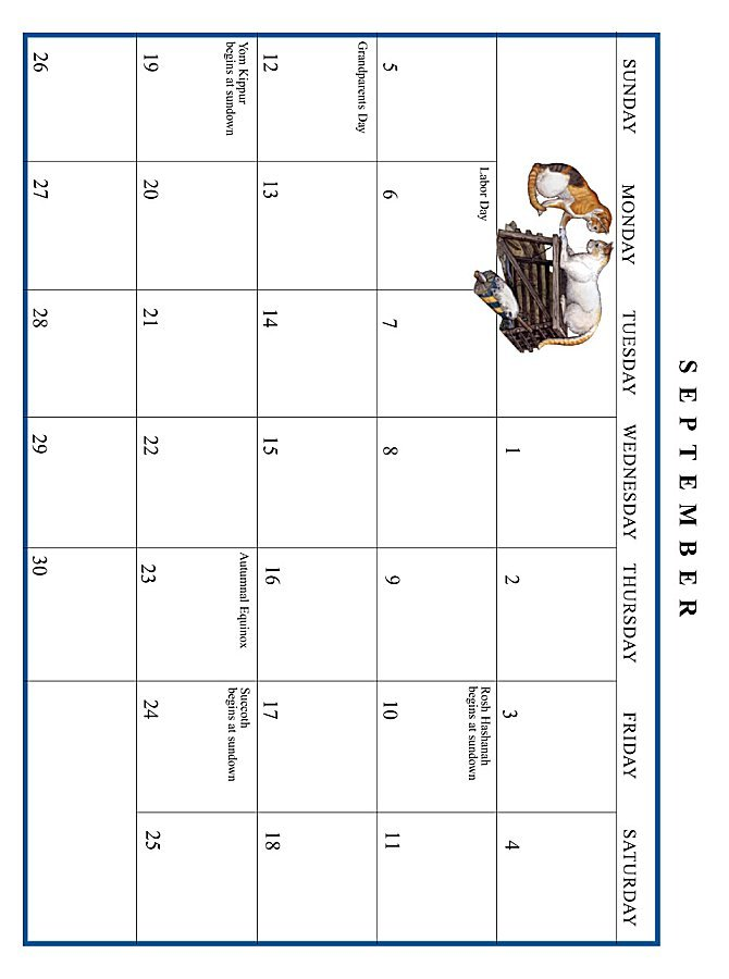 Jan Brett 1999 Calendar - September grid