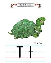 Jan Brett Alphabet Letter T Turtle