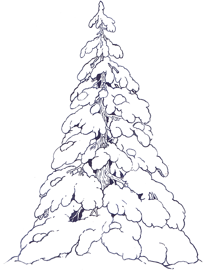 The Mitten Mural Snow Covered Evergreens coloring page