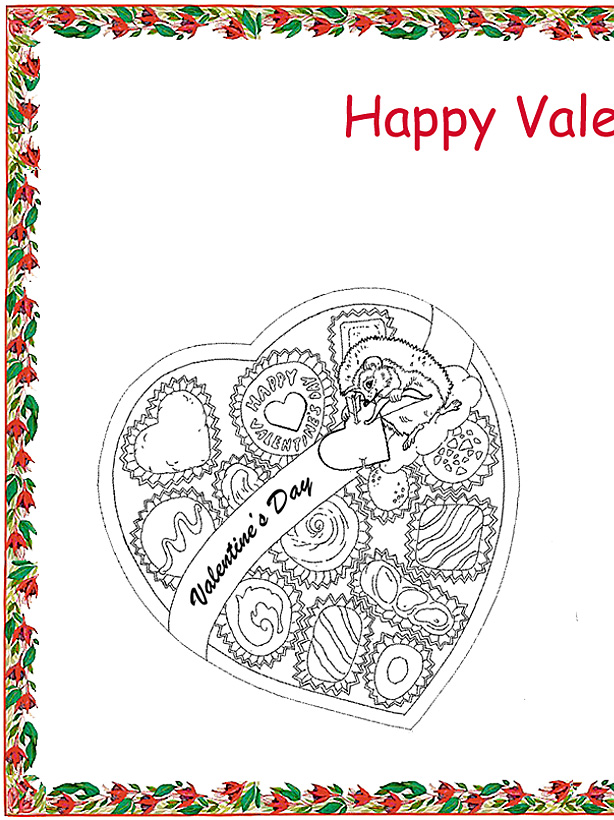 Valentine's Day Coloring Place Mat Left Side